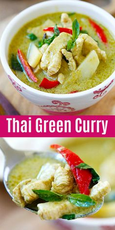 Curry Green Curry - delicious and easy Thai green curry with chicken in rich coconut curry sauce. Homemade and authentic, this recipes takes 20 mins and much better than restaurants Easy Thai Green Curry, Thai Green Chicken Curry, Thai Green Curry Recipes, Authentic Thai Green Curry, Thai Kitchen Green Curry Paste Recipe, Tofu Green Curry, Thai Curry Sauce, Green Curry Sauce, Coconut Curry Sauce
