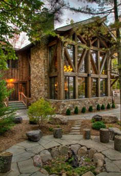 Devil's Lake rustikal-haus-und-fassade – Devil's Lake Rustic House and Facade – Design Exterior, Rustic Exterior, Facade Design, Exterior Doors, Haus Am See, Log Cabin Homes, Log Cabins, Small Log Cabin, Barn Homes