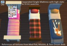 Separated single mattress with high stats & 33 EA swatches at Sims 4 Studio via Sims 4 Updates