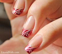 Nail Art Red French façon gel • Lizana Nail Art                              …