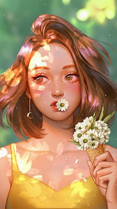Girl with Daisy Flowers iPhone Wallpaper - iPhone Wallpapers