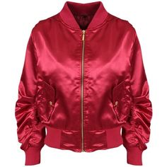 Berry Spring MA1 Satin Bomber Jacket (5.660 HUF) ❤ liked on Polyvore featuring outerwear, jackets, red flight jacket, bomber style jacket, bomber jacket, red bomber jacket and red jacket