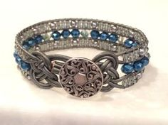 This beautiful 3 row cuff bracelet is handcrafted with 4 mm Sapphire Luster Faceted glass beads and 4x6 mm glass multi Faceted beads in the