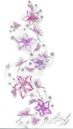 Instead of butterflies i would put hearts and the stars would be nautical stars. And it will be in neon colors
