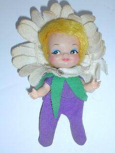 """Remco FINGERDING DOLL 1969 Finger Ding FLOWER HAT BLONDE HAIR FAIRY 5"""" #Remco #Dolls"""