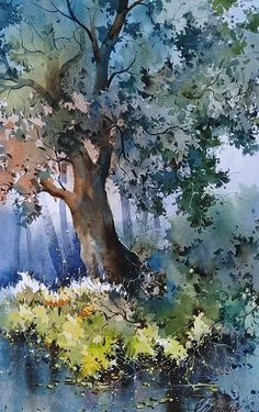 Watercolor Texture, Watercolor Landscape, Watercolor And Ink, Abstract Landscape, Watercolour Painting, Landscape Paintings, Watercolours, Painting Patterns, Tree Art