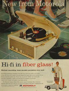Motorola Portable Fibreglass Hi Fi Record Player Ad - 1957.