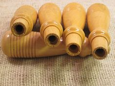 5 NOS Turned Wooden Tool Handles Ribbed Grip Handles by NBVSalvage