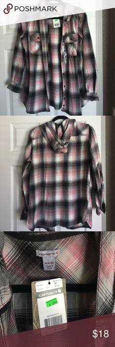 Carhartt Pink & Black Plaid shirt Never worn! In super good shape with tags still attached. Carhartt Tops Tees - Long Sleeve