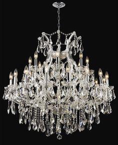 Over table; Maria Teresa chrome twenty four light chandelier with royal cut clear crystal