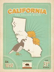 State Pride Print: California - Show your California pride with this stately print. Boasting the Golden State's flag, bird, flower, and map, this print shows off a few reasons why California is such a great state!