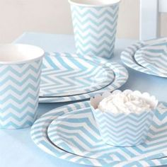 Chevron Blue Party Package $27.99 This gorgeous chevron partyware package by Illume Design is sure to delight. Each Party Package Includes: 12 x Large Plates 12 x Dessert Plates 12 x Cups 12 x Cupcake Wrappers