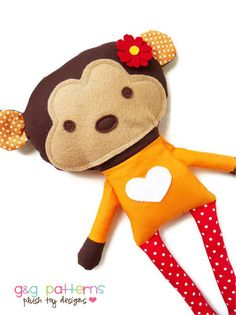 2b06c12ee7d0a Items similar to Toy Sewing Pattern - Monkey Doll - PDF on Etsy