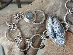 Dendritic Opal and Gray Moonstone Sterling Silver Bracelet