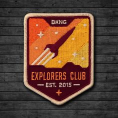 Heres a close up look at our Rocketeer patch. Todays the last day to get one for FREE when you buy any print from the series! by dkngstudios Badge Design, Logo Design, Graphic Design, Space Patch, Hiking Club, Renegade Craft Fair, Pin And Patches, Jacket Patches, Typography Inspiration