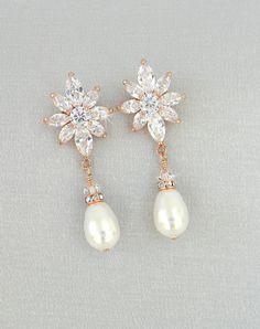 Rose Gold Bridal Earrings Crystal Wedding Jewelry Vintage Style Drop Swarovski London Small Pearl