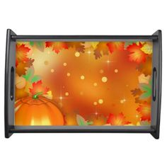 Colorful Autumn Leaves Thanksgiving Serving Tray