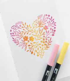 This ombre heart makes the perfect graphic for a thank you card, or to hang on your wall. Supplies Needed: - Tombow brush markers - #025, #723, #673, blender - Pencil + eraser - Archer and Olive sketchbook 1. Lightly sketch the outline of a heart. 2. Section off the heart into 5 different columns. Make the second and fourth columns slightly larger than the others, as there will be more overlap in these columns. 3. Starting with the yellow #025 marker, begin adding your doodles to t...