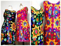 FuNkY 80s Sequin Dresses / Neon Starburst Pop Art Deco от braxae