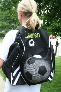 Cute personalized soccer bag...if H2 continues to play c96995c43ff53