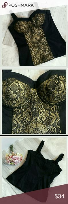 """Arden B. """"Gold Brocade Bustier"""" top Arden B. """"Gold Brocade Bustier top size extra small. Adjustable straps. Side zipper. Gold Brocade detail on bust and down center. Fabric has stretch. 97% cotton/3% spandex. Length: 19"""". Straps add 5 additional inches. Chest: 30"""". (#F8953) Arden B Tops"""