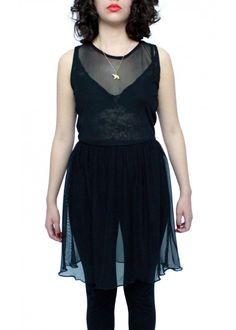 Vestido de Malla y Encaje Negro $490.00 MXN