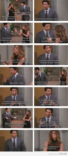 love this scene from Friends.  Rachel and Ross were awesome...love this when they lock Emma inside the apt. and have no key!!