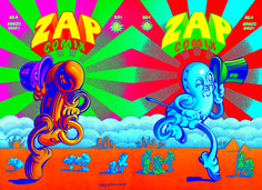 Zap Comix #4 - Original art of front and back covers. Offset lithograph.