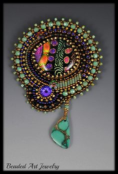 ~~ Bead Embroidered Brooch by Beaded Art Jewelry ~~