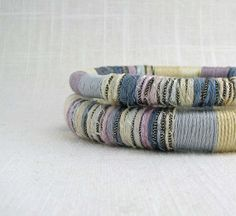 Fiber Bracelets-  Stackable Bangles in Grey Wheat Cream and Lavender  - Made-to-order