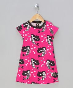 Take a look at this Fuchsia Pink Mermaid Print Short-SleeveDress - Infant & Girls by Nosh Organics on #zulily today!