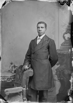 Full-length portrait of an unidentified man, photographed by E. E. Henry between 1875 and 1885 in Leavenwort...