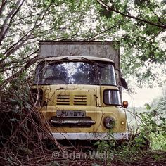 Yellow Leyland' signed and hand mounted photograph Abandoned Cars, Abandoned Places, Abandoned Vehicles, Classic Trucks, Classic Cars, Ww2 Fighter Planes, Austin Cars, Yellow Vans, Big Tractors