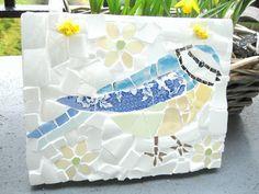 Shabby chic mosaic blue tit bird plaque by carolcapaldicrafts
