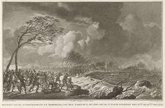 Noach van der Meer (II) | Dijkdoorbraak bij Gouda, 1776, Noach van der Meer (II), weduwe Jacobus Loveringh & Johannes Allart, 1776 - 1778 | Doorbraak van de IJsseldijk buiten Gouda in de nacht van 21-22 november 1776. Een menigte volk op de dijk van de Hollandse IJssel, in de verte een dorp. Onderdeel van een groep illustraties van de watersnood in 1776.