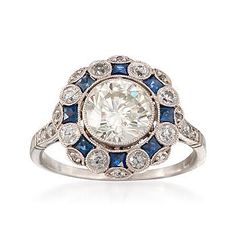Ross-Simons - C. 1960 Vintage Faux Sapphire and 2.00 ct. t.w. Diamond Ring in Platinum. Size 6.5 - #785929