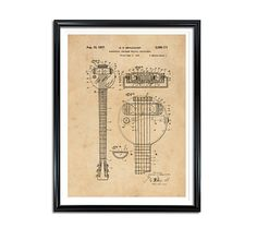 Electric String Instrument Patent Patent Prints Vintage wall