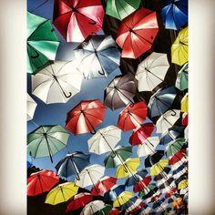 Ahora ya sé dónde están todos esos paraguas que se vuelan cuando hay viento. Se arremolinan sobre las calles, sobre las cabezas de los viandantes, que quedan protegidos del sol y de la lluvia para siempre.  #Valdepeñas, #CiudadReal #CastillaLaMancha #vacaciones #paseosconencanto  Photo by @isabelmartinj Quilts, Blanket, Umbrellas, I Will Protect You, Rain, Vacations, Photos, Quilt Sets, Quilt
