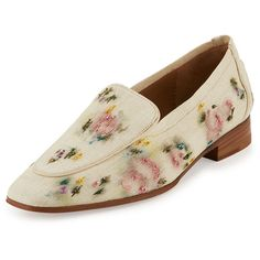The Row Alin Floral-Embroidered Raffia Loafer ($1,250) ❤ liked on Polyvore featuring shoes, loafers, natural paint, shoes loafers, the row shoes, loafers moccasins, stacked heel shoes, loafer shoes and pull on shoes