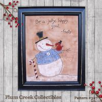Snowman Embroidery Pattern Primitive Stitchery #329
