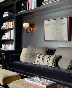 Home Interior Livingroom Dark walls velvet sofa built-ins.Home Interior Livingroom Dark walls velvet sofa built-ins My Living Room, Home And Living, Living Spaces, Home Luxury, Built In Bookcase, Bookcases, Bookcase Wall, Building Bookshelves, Built In Couch