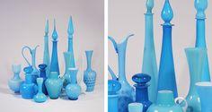 Blue italian and Scandinavian glass