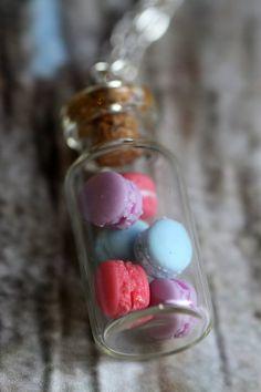 Miniature MACARON vial necklace. Berry Pastels