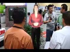 3M Virtual Presenter always turns heads! She is made from Vikuiti™ Rear Projection Film.