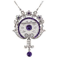 Edwardiam Diamond & Amethyst Necklace