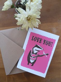 Love You Badger Greetings card