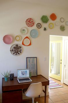 love the look of the colored plates--what a great way to recycle old dishes