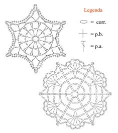 christmas craft ideas: crochet snowflakes more ideas and chartsPatterns and motifs: Crocheted motif no.Would make pretty snowflakes. Crochet Snowflake Pattern, Crochet Stars, Crochet Motifs, Crochet Snowflakes, Crochet Diagram, Thread Crochet, Crochet Flowers, Crochet Stitches, Knit Crochet