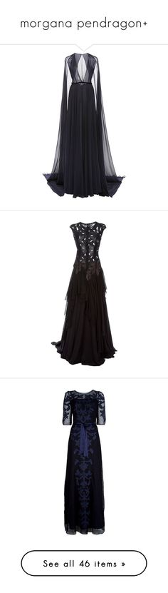"""""""morgana pendragon+"""" by bloodynargles7 ❤ liked on Polyvore featuring dresses, gowns, long dresses, naeem khan, navy blue evening gown, sheer gown, navy evening gown, long navy dress, vestidos and round neck dress"""