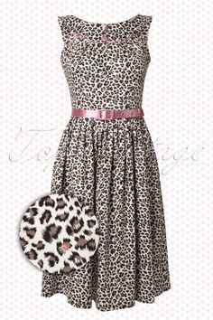 Vixen on TopVintage - 50s Leopard Dress White Pink
